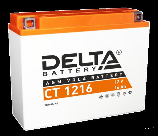Мото аккумулятор АКБ Delta (Дельта) CT 1216 о.п. YB16AL-A2